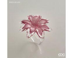 Portatovagliolo fiore rosa in vetro 102254.50