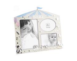 Portafoto Multiplo Baby Azzurro in Metallo Smaltato  A556