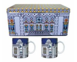 SET 02 MUG PORCELLANA CON SCATOLA IN LATTA SURSOCK VITRAIL POR222082
