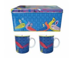SET 2 MUG CON SCATOLA LATTA BIRDS OF PARADISE BLUE POR222062