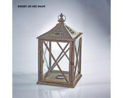 Lanterna Cedar Legno e Metallo H 60 cm 640081.00