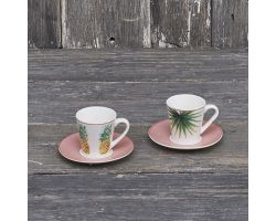 Set 2 tazze caffè con piattino rosa linea Tropical 12665