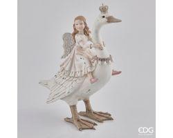 ANGELO POLY CON CIGNO E CORONA H 30 cm 677821.12