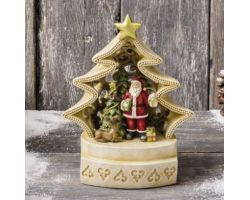 ALBERO CON BABBO NATALE H 20 cm con luce JOYFUL CHRISTMAS D12627