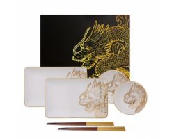 SET SUSHI 2 PIATTINI CIOTOLE BACCHETTE DRAGON GOLD TK16201