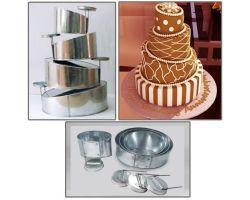 Set 4 teglie torta irregolari tondi con supporti staccabili CTA03