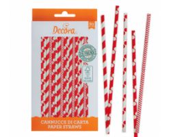 Confezione 80 CANNUCCE IN CARTA Red&White Ø 6 x 210 mm 0350104