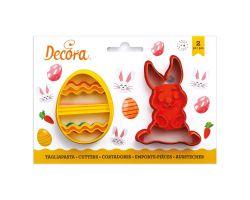 Set 2 Tagliapasta Coniglio e Uovo decorato in plastica 0255060