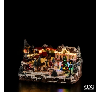 STAZIONE TRENO CON LED, MUSICA E MOVIMENTO H 24x38x27 CM 683014.29