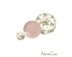 Tazza da the, piattino e piatto dolce Cottage Flower CUP2466