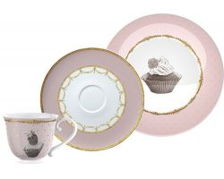 Tazza da the, piattino e piatto dolce Cottage Flower  Linea cup3915
