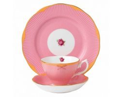 Tazza con piattino e piatto dolce Cheeky Pink Sweet Stripe 40002531 Royal Albert