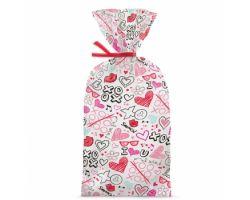 Sacchetti San Valentino colori fantasia 20 pezzi con laccetti 0267336