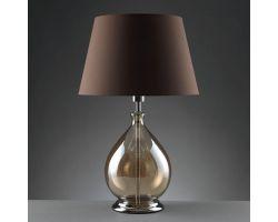 Lampada Drop in vetro trasparente e paralume in tessuto O979