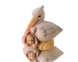 Stampo silicone cicogna con bebé 30SM033