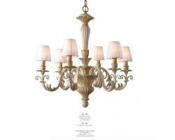 Lampadario 6 luci Bianco Antico, Mecca e Colore Tortora Art. 523