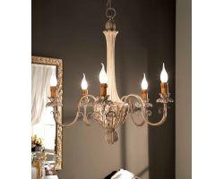 Lampadario 5 luci Bianco Antico, Argento e Colore Cenere Art. 507