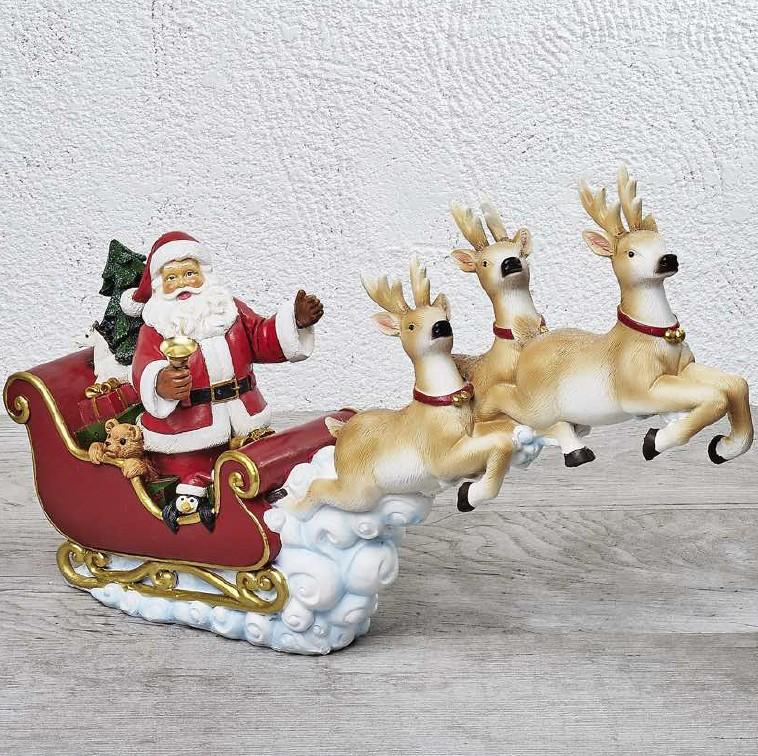 Immagini Babbo Natale Con Renne.Babbo Natale Con Renne 49x12x30 Cm D12675
